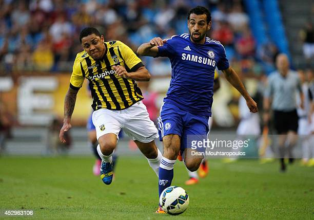 Mohamed Salah of Chelsea and Wallace Oliveira dos Santos of Vitesse battle for the ball during the pre season friendly match between Vitesse Arnhem...