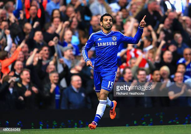 Mohamed Salah of Chelsea celebrates scoring their sixth goal uring the Barclays Premier League match between Chelsea and Arsenal at Stamford Bridge...