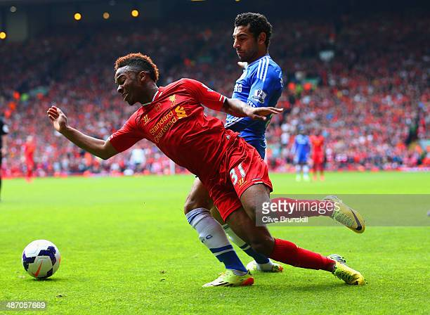 Mohamed Salah of Chelsea closes down Raheem Sterling of Liverpool during the Barclays Premier League match between Liverpool and Chelsea at Anfield...