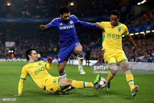 Mohamed Salah of Chelsea is closed down by the Sporting Lisbon defence during the UEFA Champions League group G match between Chelsea and Sporting...