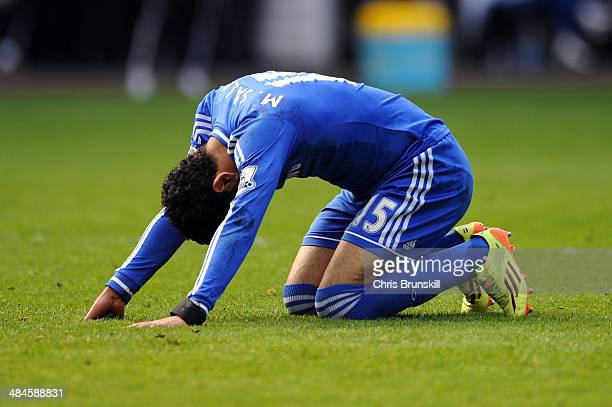 Mohamed Salah of Chelsea reacts after a missed chance on goal during the Barclays Premier League match between Swansea City and Chelsea at Liberty...