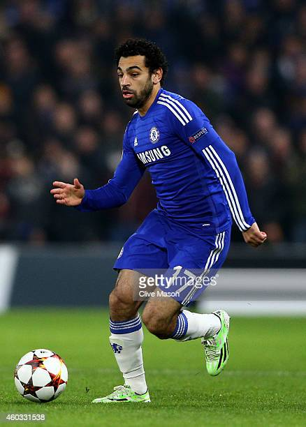 Mohamed Salah of Chelsea runs with the ball during the UEFA Champions League group G match between Chelsea and Sporting Clube de Portugal at Stamford...