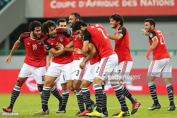 Mohamed Salah of Egypt celebrates his goal with his team mates during the African Cup of Nations 2017 Group D football match between Ghana and Egypt...