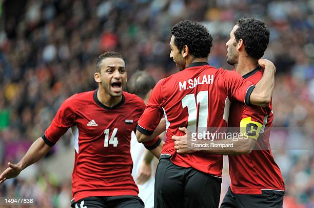 Mohamed Salah of Egypt celebrates scoring his goal with team mates during the Men's Football first round Group C Match between Egypt and New Zealand...
