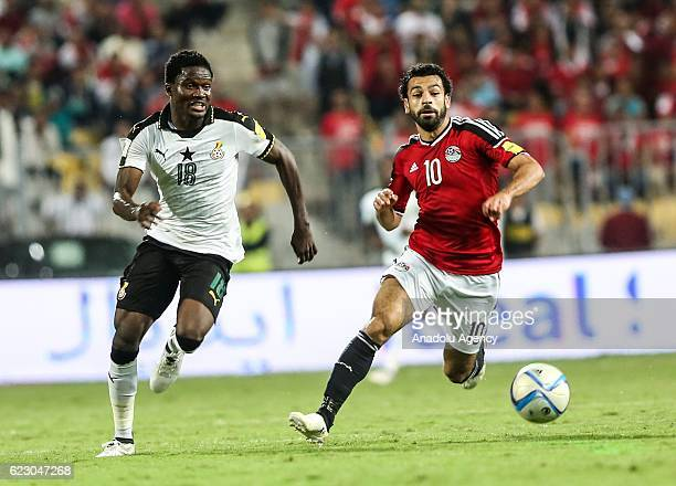 Mohamed Salah of Egypt in action against Daniel Amartey of Ghana during the 2018 World Cup Africa qualifying match between Egypt and Ghana at the...