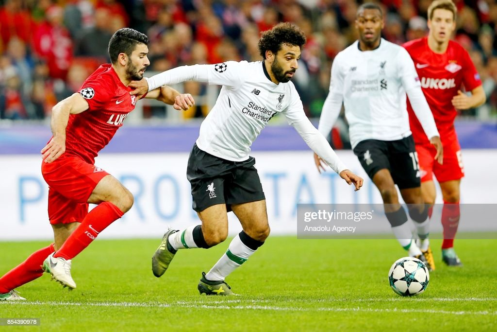Mohamed Salah (R) of Liverpool and Serdar Tasci (L) of Spartak Moscow in action during the UEFA Champions League match between Spartak Moscow and Liverpool FC at Spartak Stadium in Moscow, on September 26, 2017.