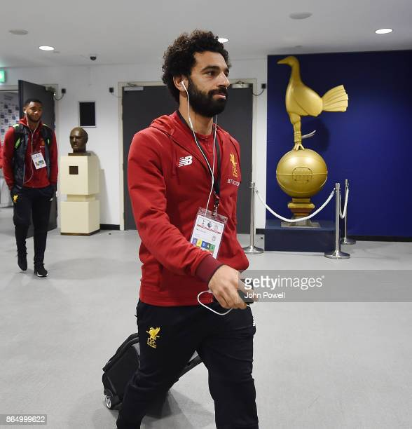 Mohamed Salah of Liverpool arrives before the Premier League match between Tottenham Hotspur and Liverpool at Wembley Stadium on October 22 2017 in...