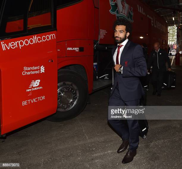 Mohamed Salah of Liverpool arrives beofre the Premier League match between Liverpool and Crystal Palace at Anfield on August 19 2017 in Liverpool...