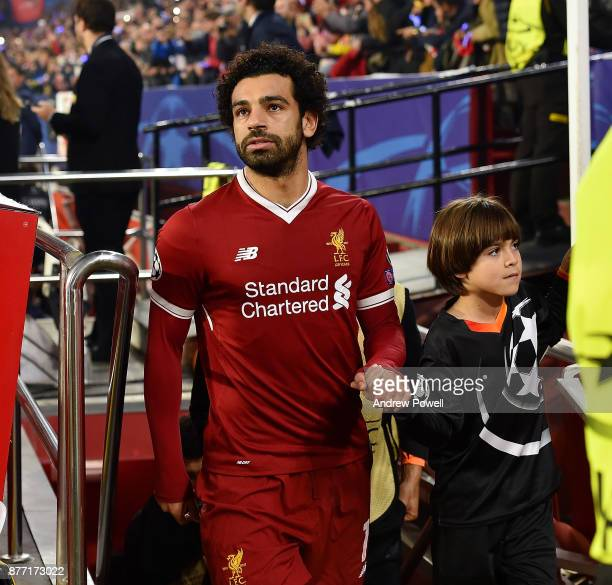 Mohamed Salah of Liverpool at the start of the UEFA Champions League group E match between Sevilla FC and Liverpool FC at Estadio Ramon Sanchez...
