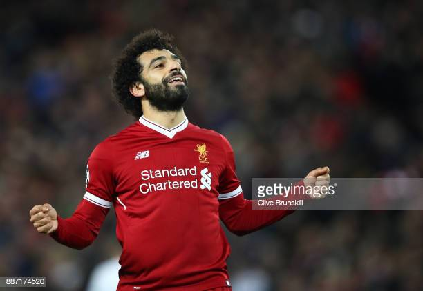 Mohamed Salah of Liverpool celebrates after scoring his sides sixth goal during the UEFA Champions League group E match between Liverpool FC and...
