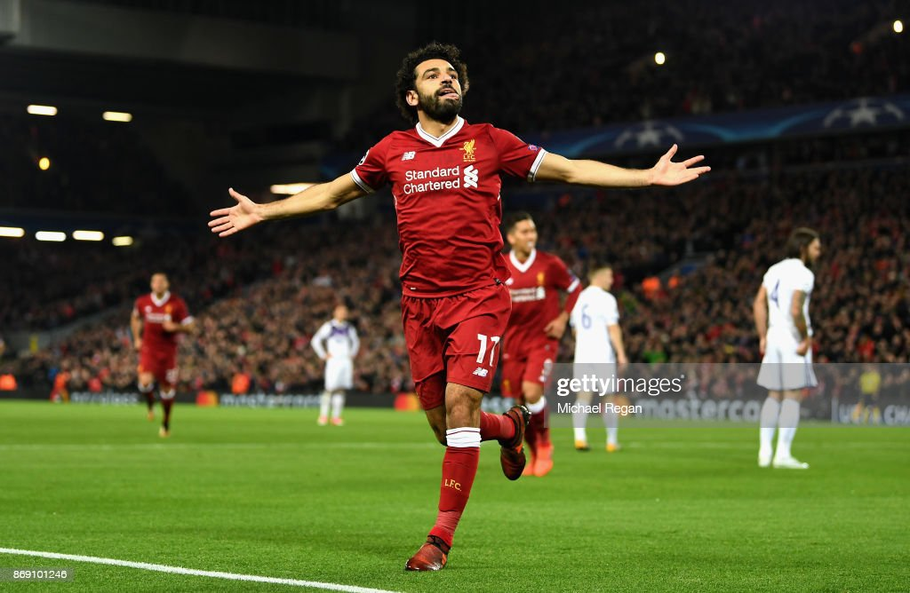 Mohamed Salah of Liverpool celebrates scoring his sides first goal during the UEFA Champions League group E match between Liverpool FC and NK Maribor at Anfield on November 1, 2017 in Liverpool, United Kingdom.