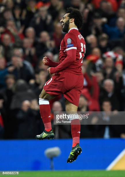 Mohamed Salah of Liverpool celebrates scoring his sides second goal during the UEFA Champions League group E match between Liverpool FC and Sevilla...