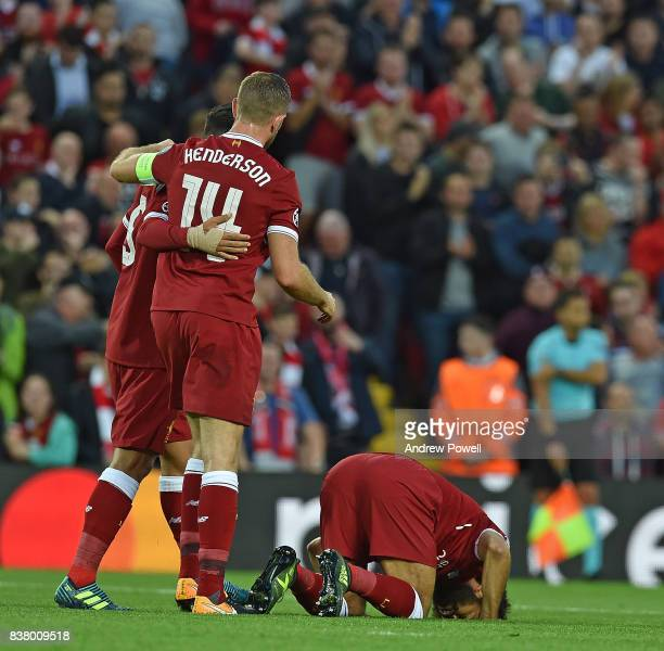Mohamed Salah of Liverpool celebrates the second Goal during the UEFA Champions League Qualifying PlayOffs round second leg match between Liverpool...