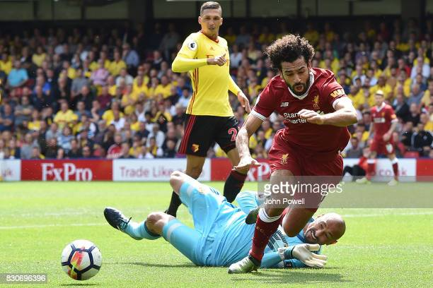 Mohamed Salah of Liverpool comes down in the watford box for a Penalty kick during the Premier League match between Watford and Liverpool at Vicarage...
