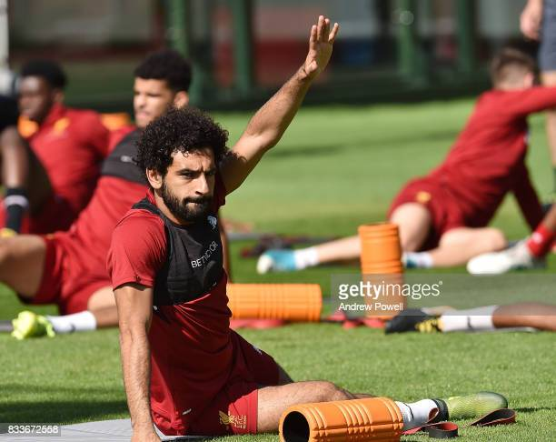 Mohamed Salah of Liverpool during a training session at Melwood Training Ground on August 17 2017 in Liverpool England