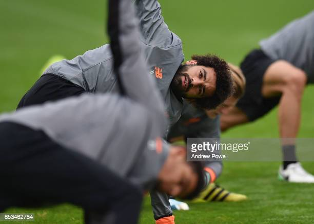 Mohamed Salah of Liverpool during a training session at Melwood Training Ground on September 25 2017 in Liverpool England