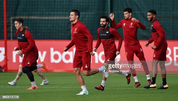 Mohamed Salah of Liverpool during a training session at Melwood Training Ground on October 12 2017 in Liverpool England