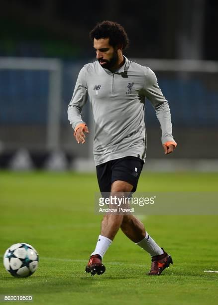 Mohamed Salah of Liverpool during a training session at Stadion Ljudski vrt on October 16 2017 in Maribor Slovenia
