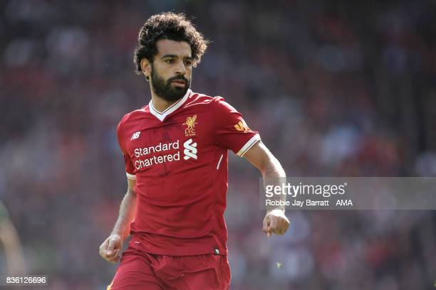 Mohamed Salah of Liverpool during the Premier League match between Liverpool and Crystal Palace at Anfield on August 19 2017 in Liverpool England