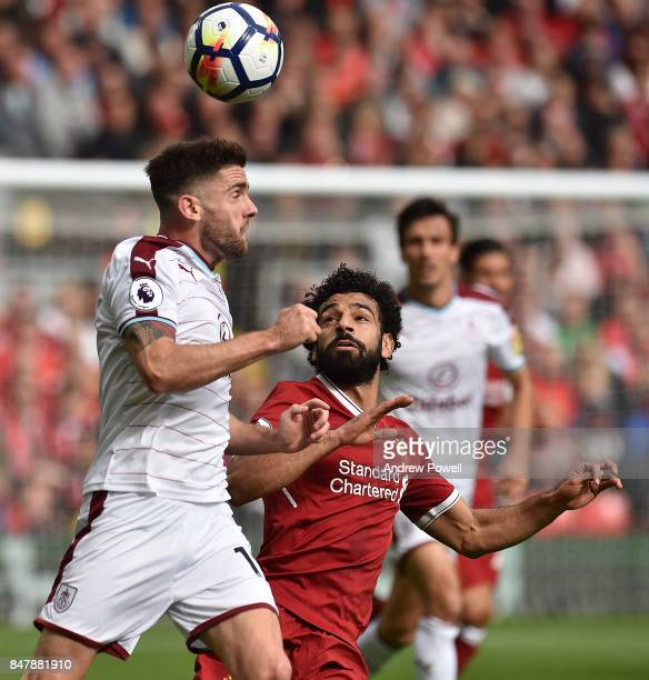 Mohamed Salah of Liverpool during the Premier League match between Liverpool and Burnley at Anfield on September 16 2017 in Liverpool England