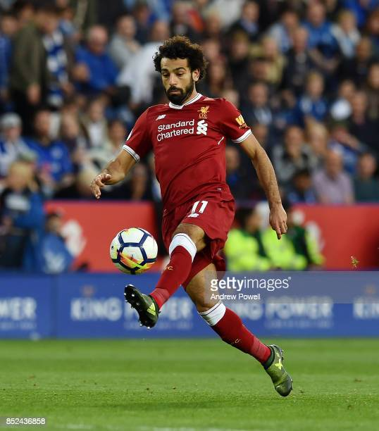 Mohamed Salah of Liverpool during the Premier League match between Leicester City and Liverpool at The King Power Stadium on September 23 2017 in...