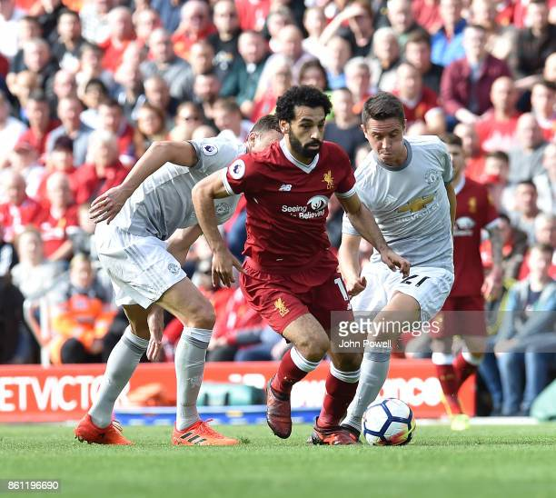Mohamed Salah of Liverpool during the Premier League match between Liverpool and Manchester United at Anfield on October 14 2017 in Liverpool England