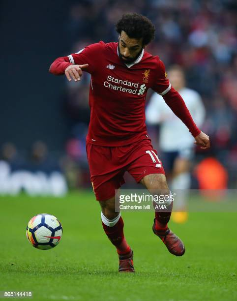 Mohamed Salah of Liverpool during the Premier League match between Tottenham Hotspur and Liverpool at Wembley Stadium on October 22 2017 in London...