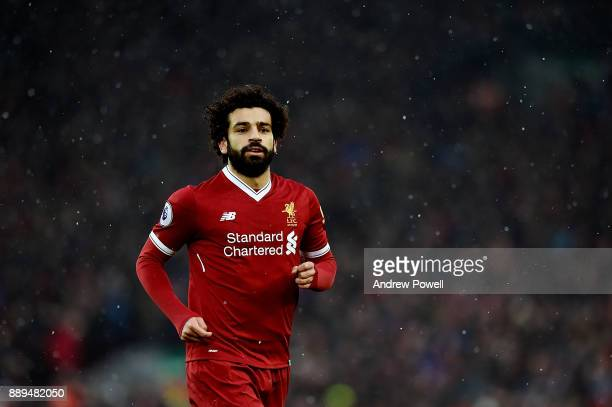Mohamed Salah of Liverpool during the Premier League match between Liverpool and Everton at Anfield on December 10 2017 in Liverpool England