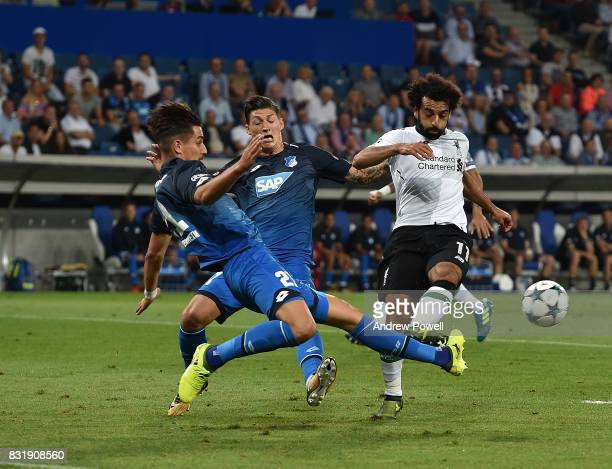 Mohamed Salah of Liverpool during the UEFA Champions League Qualifying PlayOffs Round First Leg match between 1899 Hoffenheim and Liverpool FC at...