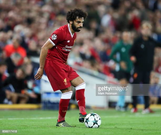 Mohamed Salah of Liverpool during the UEFA Champions League Qualifying PlayOffs round second leg match between Liverpool FC and 1899 Hoffenheim at...