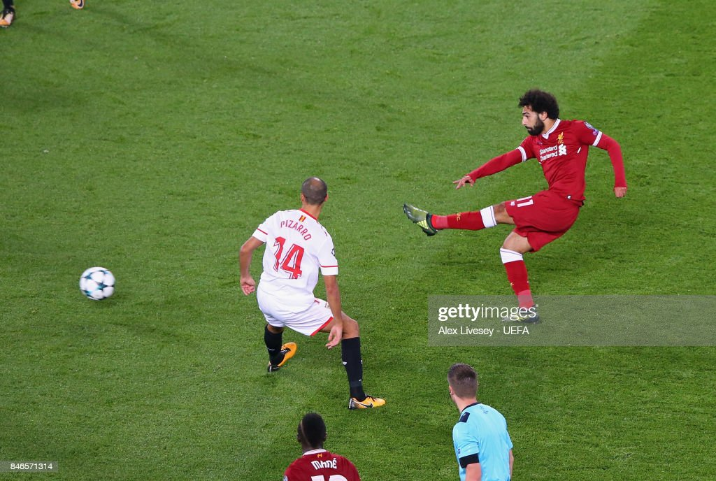Mohamed Salah of Liverpool FC scores their second goal during the UEFA Champions League group E match between Liverpool FC and Sevilla FC at Anfield on September 13, 2017 in Liverpool, United Kingdom.