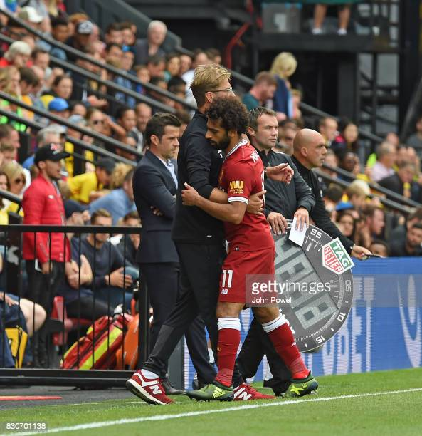 Mohamed Salah of Liverpool goes off Substituted during the Premier League match between Watford and Liverpool at Vicarage Road on August 12 2017 in...