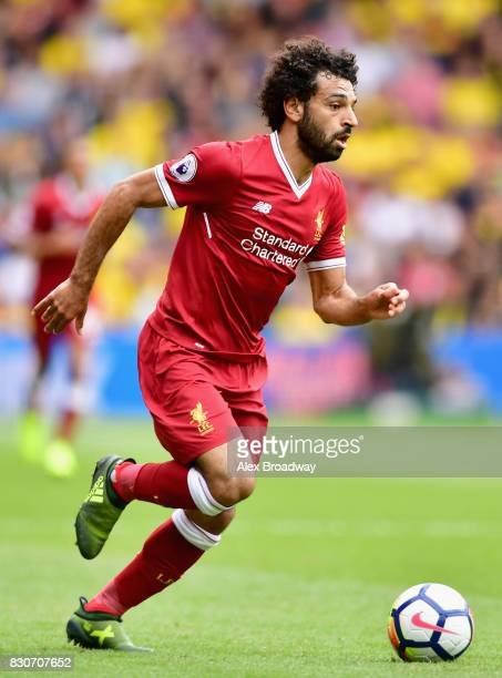 Mohamed Salah of Liverpool in action during the Premier League match between Watford and Liverpool at Vicarage Road on August 12 2017 in Watford...