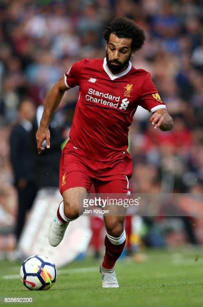 Mohamed Salah of Liverpool in action during the Premier League match between Liverpool and Crystal Palace at Anfield on August 19 2017 in Liverpool...