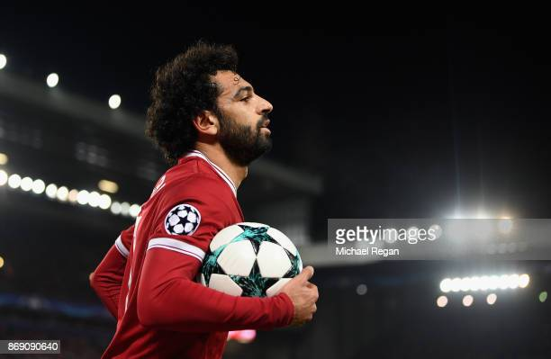 Mohamed Salah of Liverpool looks on during the UEFA Champions League group E match between Liverpool FC and NK Maribor at Anfield on November 1 2017...