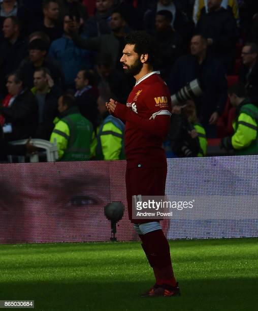 Mohamed Salah of Liverpool prays before the Premier League match between Tottenham Hotspur and Liverpool at Wembley Stadium on October 22 2017 in...