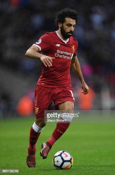 Mohamed Salah of Liverpool runs with the ball during the Premier League match between Tottenham Hotspur and Liverpool at Wembley Stadium on October...