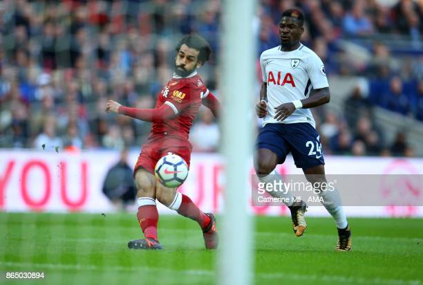 Mohamed Salah of Liverpool scores a goal to make it 21 during the Premier League match between Tottenham Hotspur and Liverpool at Wembley Stadium on...