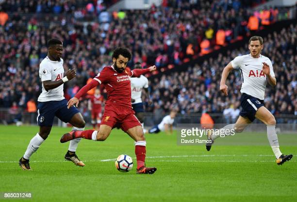 Mohamed Salah of Liverpool scores his sides first goal during the Premier League match between Tottenham Hotspur and Liverpool at Wembley Stadium on...