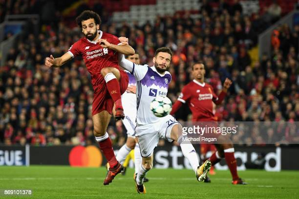 Mohamed Salah of Liverpool scores his sides first goal during the UEFA Champions League group E match between Liverpool FC and NK Maribor at Anfield...