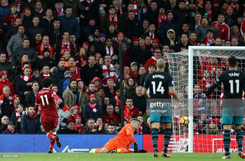 Mohamed Salah of Liverpool scores his side's second goal during the Premier League match between Liverpool and Southampton at Anfield on November 18, 2017 in Liverpool, England.