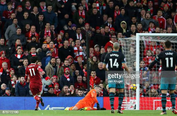 Mohamed Salah of Liverpool scores his side's second goal during the Premier League match between Liverpool and Southampton at Anfield on November 18...
