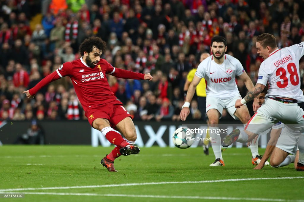 Mohamed Salah of Liverpool scores his sides seventh goal during the UEFA Champions League group E match between Liverpool FC and Spartak Moskva at Anfield on December 6, 2017 in Liverpool, United Kingdom.