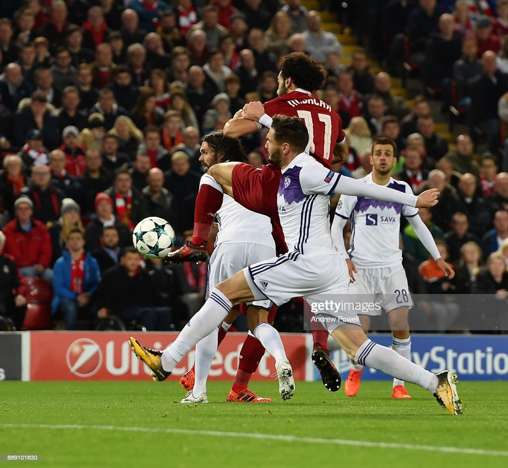 Mohamed Salah of Liverpool scores the opening goal during the UEFA Champions League group E match between Liverpool FC and NK Maribor at Anfield on November 1, 2017 in Liverpool, United Kingdom.