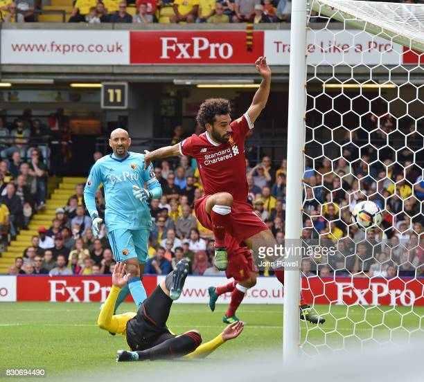 Mohamed Salah of Liverpool Scores the third for Liverpool during the Premier League match between Watford and Liverpool at Vicarage Road on August 12...