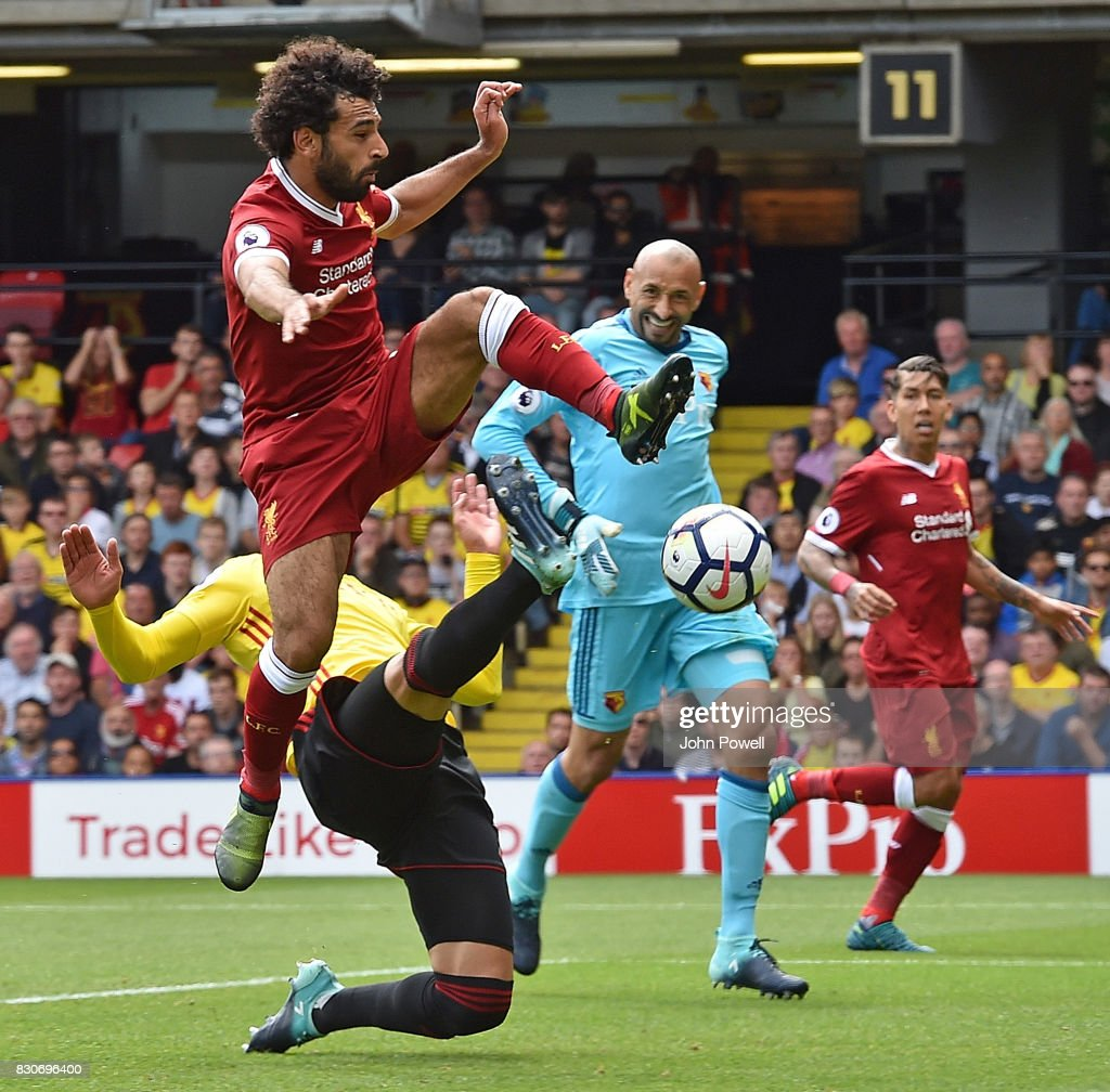 Mohamed Salah of Liverpool Scores the third for Liverpool during the Premier League match between Watford and Liverpool at Vicarage Road on August 12, 2017 in Watford, England.