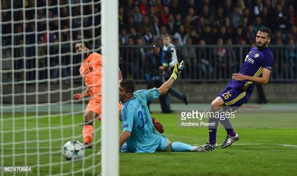 Mohamed Salah of Liverpool scores the third goal during the UEFA Champions League group E match between NK Maribor and Liverpool FC at Stadion...