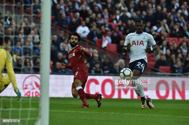 Mohamed Salah Scores Liverpool first during the Premier League match between Tottenham Hotspur and Liverpool at Wembley Stadium on October 22 2017 in...