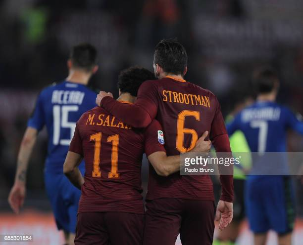 Mohamed Salah with his teammate Kevin Strootman of AS Roma celebrates after scoring the team's second goal during the Serie A match between AS Roma...