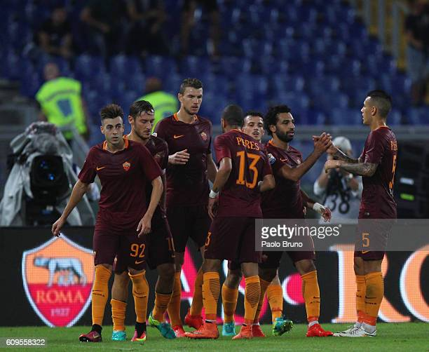 Mohamed Salah with his teammates of AS Roma celebrates after scoring the team's second goal during the Serie A match between AS Roma and FC Crotone...